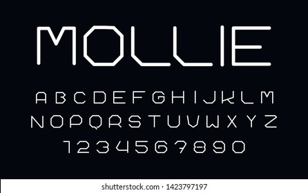 Trendy font. Minimalistic style alphabet. Decorative typeface. Letters for your design. Vector font