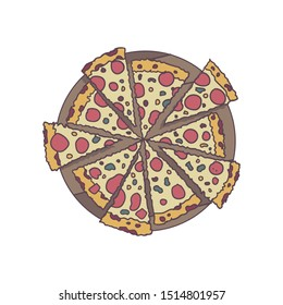 Trendy Food Quote and Slogan, good for t-shirt design. Good food is all the sweeter, when shared with good friends. Pizza vector illustration.