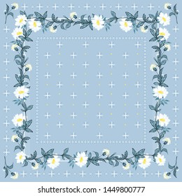Trendy freshy color of Bohemian blooming flowers scarf bandana style seamless pattern vector design for fashion,scarf ,fabric and all prints on summer light blue pastel background color