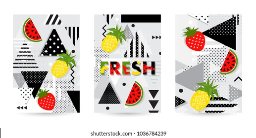 Trendy fruit (watermelon, pineapple) pattern covers set. Design floral backgrounds for booklet, cards, invitation, brochure and promotion. Vector illustration
