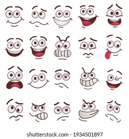 Trendy funny faces flat pictures set. Cartoon comic cute caricature characters with eyes and mouth isolated on white background vector illustrations. Feeling expression and communication concept