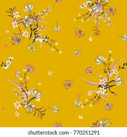 Trendy  gentle Floral pattern in the many kind of flowers. botanical  Motifs scattered random. Seamless vector texture for fashion prints. Printing with in hand drawn style svivid yellow background.