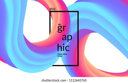 Trendy geometric background. 3d Fluid shapes composition. Eps10 vector.