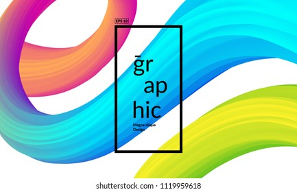 Trendy geometric background. 3d Fluid shape illustration. Eps10 vector.