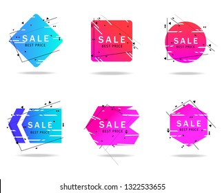 Trendy geometric banners set isolated on white background. Gradient sale banner for text box shapes,design template, circle label, sticker,badge and arrow ribbon. Modern creative title banners, vector
