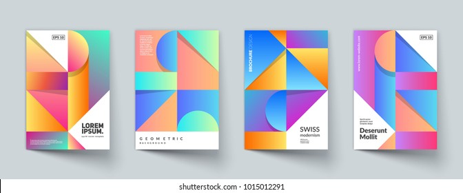 Trendy geometric cover templates. Minimal desisgn. Eps10 vector.