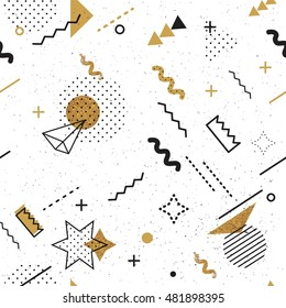 Trendy geometric elements memphis card. Seamless memphis pattern for tissue and postcards. Hipster poster, black and golden color background. Vector illustration