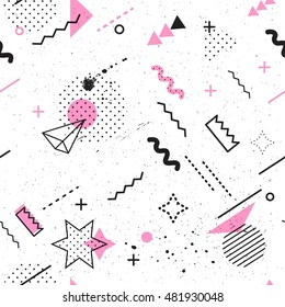 Trendy geometric elements memphis card seamless vectores en stock trendy geometric elements memphis card seamless memphis pattern for tissue and postcards hipster poster malvernweather Choice Image