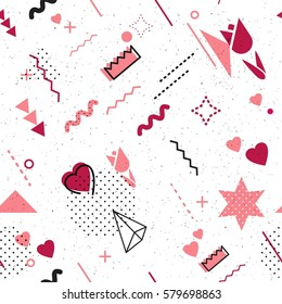 Trendy geometric elements memphis card. Seamless memphis pattern for 8 march women`s day celebration with holiday symbols  in retro 80s, 90s memphis style. Vector illustration