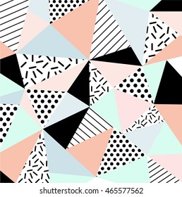 Trendy geometric elements memphis cards. Modern abstract design poster, cover, card design. Geometric seamless pattern in 80s - 90s fashion style. Abstract polygon background