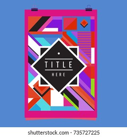Trendy geometric elements memphis poster design. Retro style texture, pattern and elements. Modern abstract cover design template