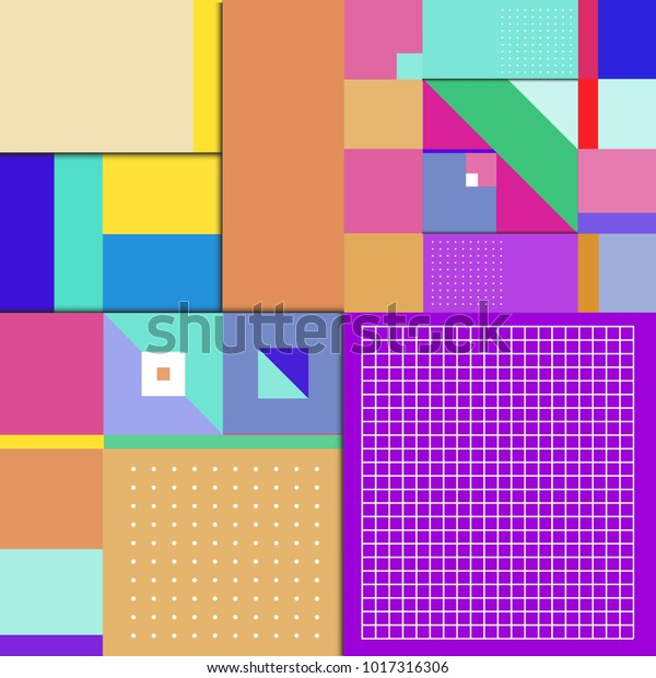 Trendy geometric elements memphis poster design with puncy pastels colors. Retro style texture, pattern and elements. Modern abstract cover design template