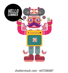Trendy geometric elements memphis summer greeting cards design. Retro style Robot saying hello summer. Modern abstract design poster and cover template.