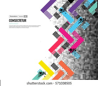 Trendy geometric flat pattern, frame with abstract background for brochure, banner, business presentations. EPS10.