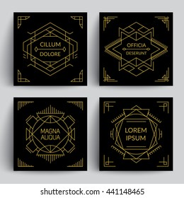 Trendy geometric frames and borders. Line art decor on black backgrounds. Eps10 vector.