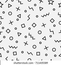 Trendy geometric memphis hipster pattern vector, seamless pattern