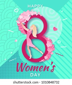 Trendy geometric women s day banner, 8 march poster in modern 90s-80s memphis style with paper art, origami elements, patterns, flowers, woman silhouette, colorful vector illustration, background