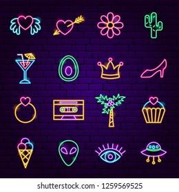 Trendy Girl Neon Icons. Vector Illustration of Fashion Symbols.