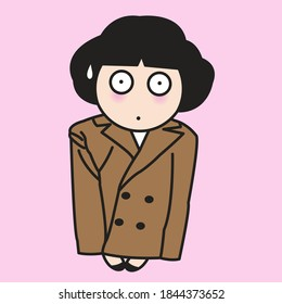 Trendy Girl With Surprised Face Wearing Supersized Suits. Fashion Outfit For Winter Concept Card Character illustration