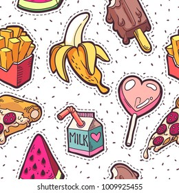Trendy girls fashion patches seamless pattern with fast food icons in cartoon style