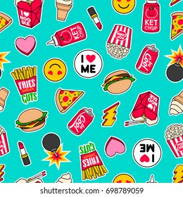 Trendy girls fashion patches seamless pattern with fast food icons