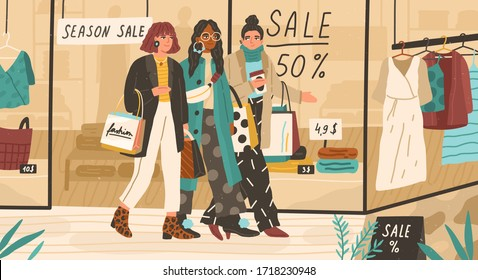 Trendy girls shopping together. Modern young women walking near fashion outlet or boutique and holding bags with purchases. Seasonal sale, discounts. Vector illustration in flat cartoon style