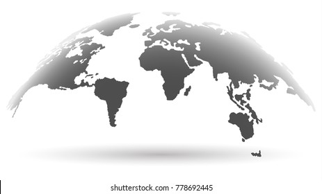 Trendy Globe Map in Smoky Grey Color Blurred. Future Concept. Vector Illustration