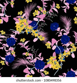 Trendy glow neon Floral pattern in the dark ,many kind of flowers. Tropical botanical  . Seamless vector texture.fashion fabric and all prints,with in hand drawn style on black  background.