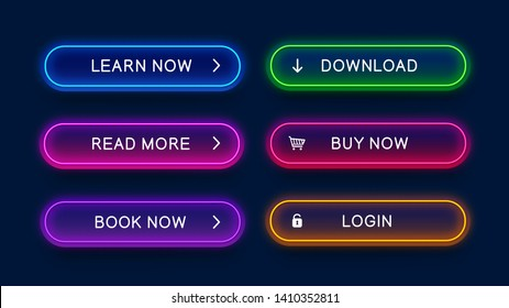 Trendy, glowing, neon buttons for web design. Bright, abstract, vector, neon buttons isolated on dark background. Ready design for use in web direction.