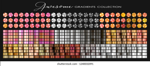 Trendy Gold, Silver, Copper, Rose gold, Ultra Violet collection, circular gradient set with silver, golden, copper, violet, purple, pink, red, white, grey... colors for design. Vector illustration.