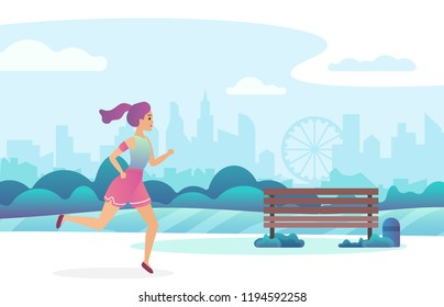 Trendy gradient color illustration of a beautiful girl jogging in the public park.