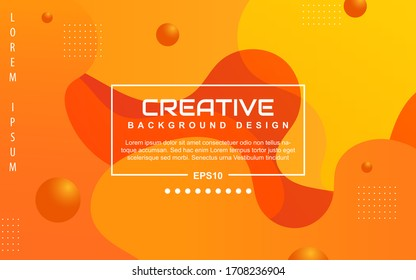 Trendy gradient design abstract geometric background with dynamic soft orange and yellow color. Liquid and fluid vector layout template can use modern poster, digital presentation, marketing business