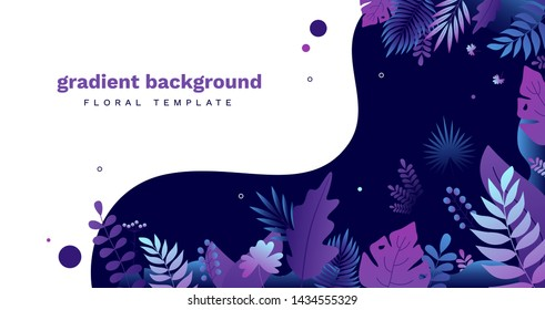 Trendy gradient tropical horizontal background. Modern colored lush tropical vegetation with jungle foliage, exotic leaves. Natural botanical vector template with place for text