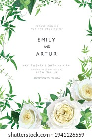 Trendy greenery wedding floral vector invite, holiday invitation card. Light yellow garden rose flowers, tender jasmine vine green leaves, foliage, herbs cute bouquet. Decorative frame, natural border