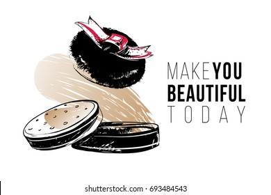 Trendy greeting card with make you beautiful today text and compact powder puff. Professional makeup artist background. Black fashion illustration on white background. Hand drawn art, watercolor style