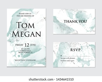 Trendy greeting card set with green watercolor liquid flow. Ink art with silver glitter foil  splashes. Wedding invitation, thank you card, rsvp design, vector.