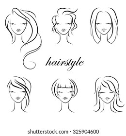 Trendy hairstyles for women, vector. hairstyle sketch. set of haircuts