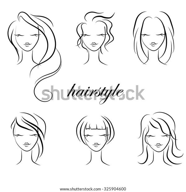 Trendy Hairstyles Women Vector Hairstyle Sketch Stock Vector