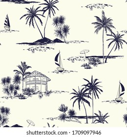 Trendy hand drawn island vector seamless pattern vintage mood sea,sun ,palm trees, sailboat ,sky The Summer mood illustration.Design for fashion,fabric,wallpaper and all prints on cream background.