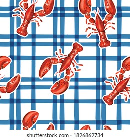 Trendy hand drawn lobster with electric blue check seamless pattern vector in summer vibes,Design for fashion , fabric, textile, wallpaper, cover, web , wrapping and all prints