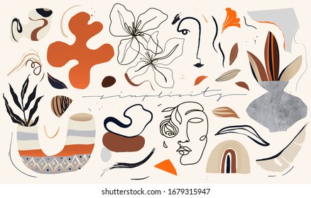 Trendy hand drawn various shapes and illustrations for your design. All elements are isolated. Natural pastel colors. Vector EPS10.