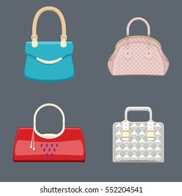 Trendy handbags collection bright colors with shiny golden metal details. Beautiful expensive accessory for ladies. Female individuality. Isolated objects. Vector illustration