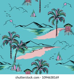 Trendy  hawaiian in sweet color  seamless island pattern vector. Landscape with palm trees,beach and ocean vector hand drawn style on blue mint color background for fashion fabric and all prints.