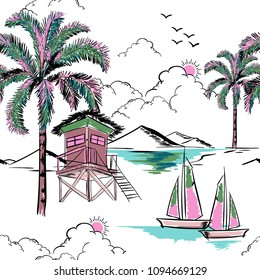 Trendy  hawaiian in sweet color  seamless island pattern vector. Landscape with palm trees,beach and ocean vector hand drawn style on white color background for fashion fabric and all prints.