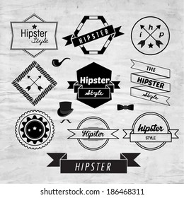 Trendy Hipster Label and Badge Icon Vector Design