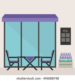 Trendy hipster restaurant terrace: table and chairs under the awning, a crate of lavender / editable flat vector illustration