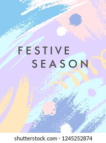 Trendy holidays poster with hand drawn shapes and textures in soft pastel colors.Unique graphic design perfect for prints,flyers,banners,invitations,special offer and more.Modern vector illustration.