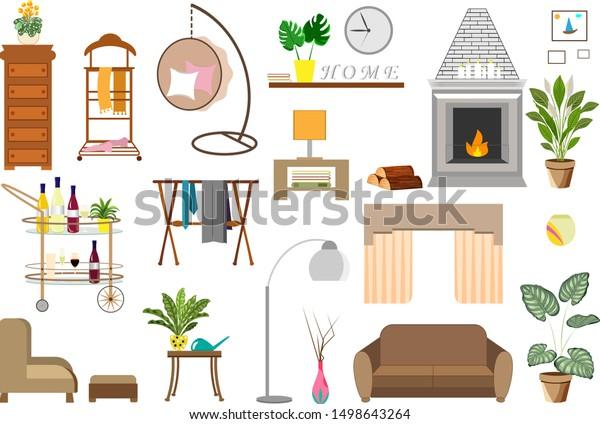 Trendy Home Decor Elements Plants Interior Stock Vector Royalty Free 1498643264