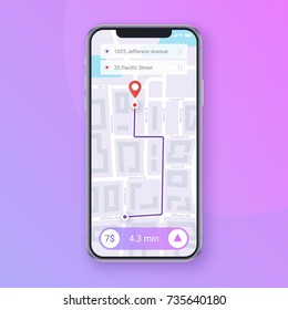 Trendy Infographic of city Map Navigation. Mobile App Interface concept design. Vector EPS 10