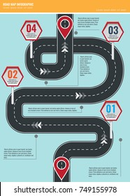 Trendy infographic template with road map using pointers and arrows. Illustrated vector.